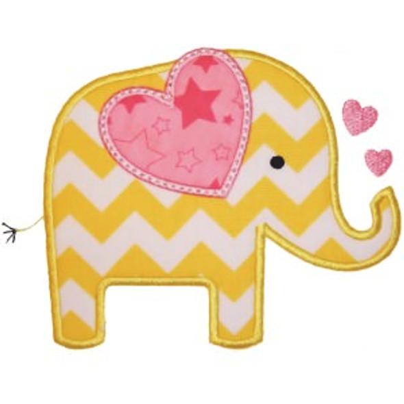 Valentine Elephant Applique Machine Embroidery Design