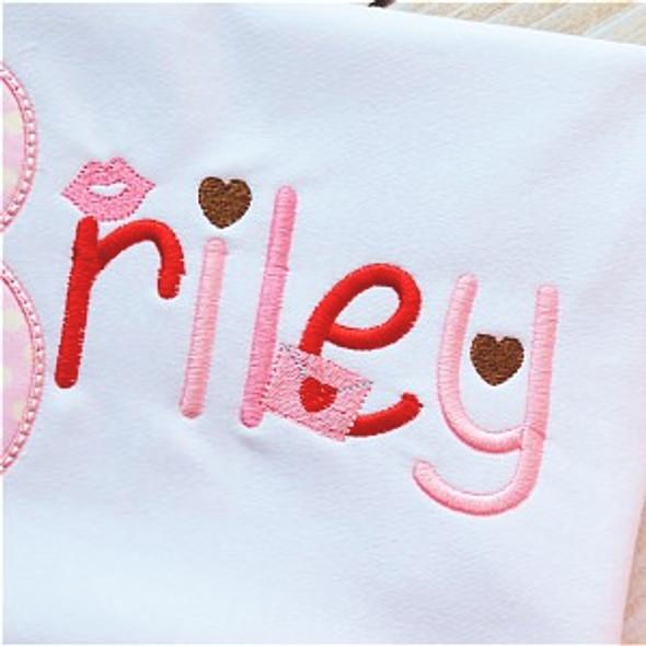 Valentine Font Machine Embroidery Design