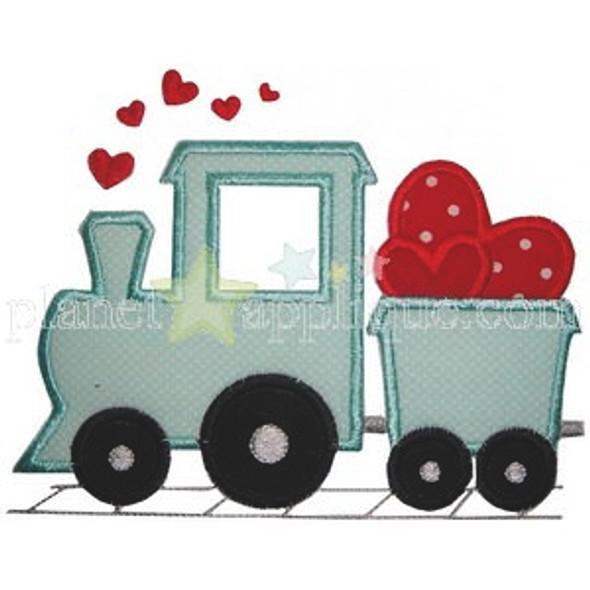 Valentine Train Applique Machine Embroidery Design