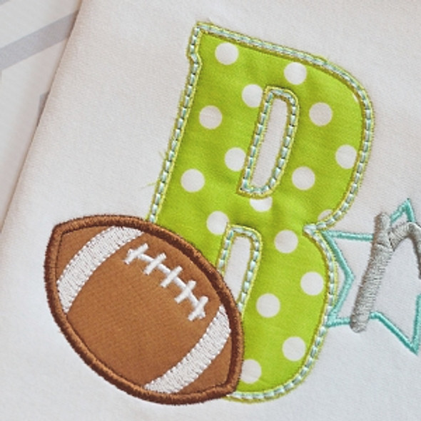 Football 3 Alpha Machine Embroidery Design
