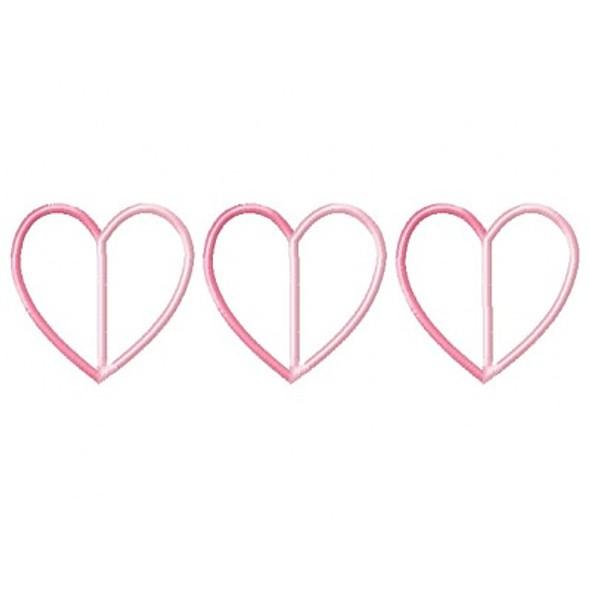 Paper Hearts Applique Machine Embroidery Design