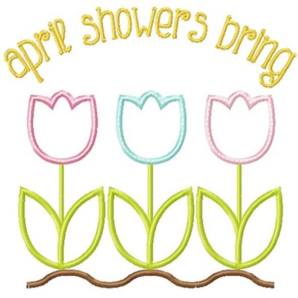 Spring Flowers 2 Applique Machine Embroidery Design