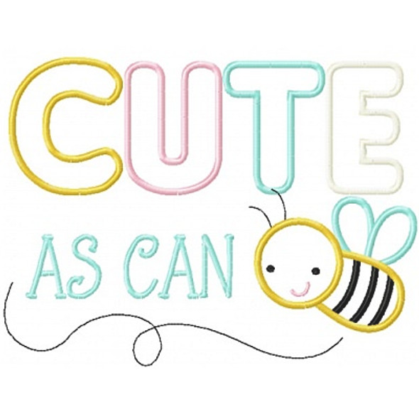 Cute As Can Bee Machine Embroidery Design