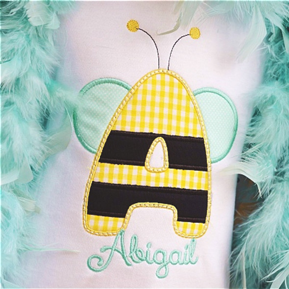 Bumble Bee Alpha Machine Embroidery Design