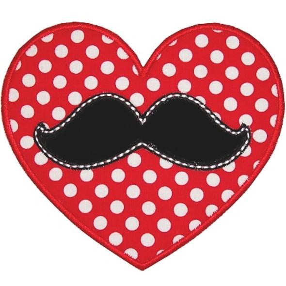 Mustache Heart Machine Embroidery Design