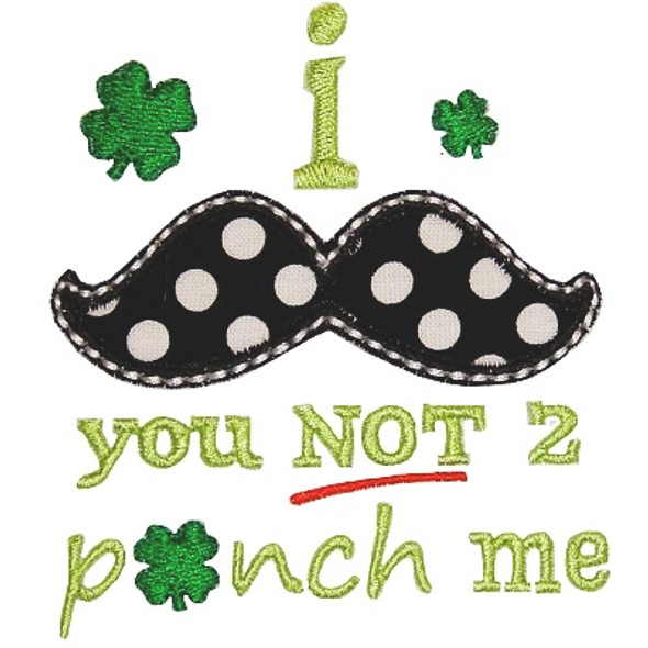 Mustache You Not To Pinch Machine Embroidery Design