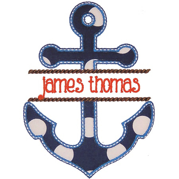 Anchor Name Plate Machine Embroidery Design
