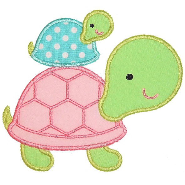 Stacked Turtles Applique Machine Embroidery Design