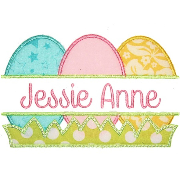 Easter Egg Nameplate Machine Embroidery Design