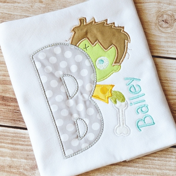 Lil Zombie Boy Alpha Machine Embroidery Design