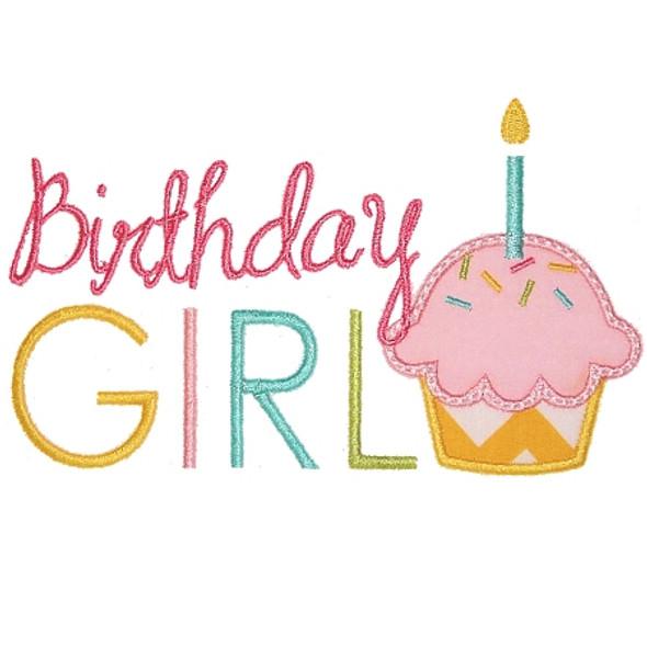 Birthday Cupcake 2 Applique Machine Embroidery Design