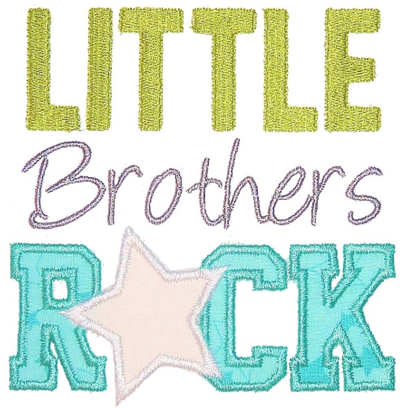 Little Brothers Rock Machine Embroidery Design