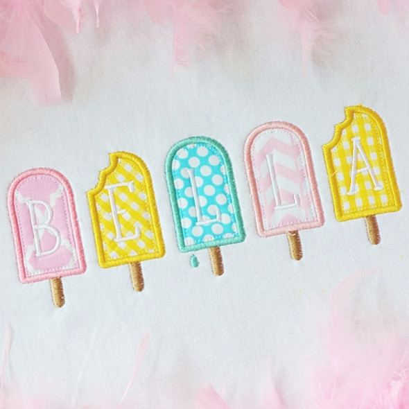 Tiny Popsicle Alpha Machine Embroidery Design