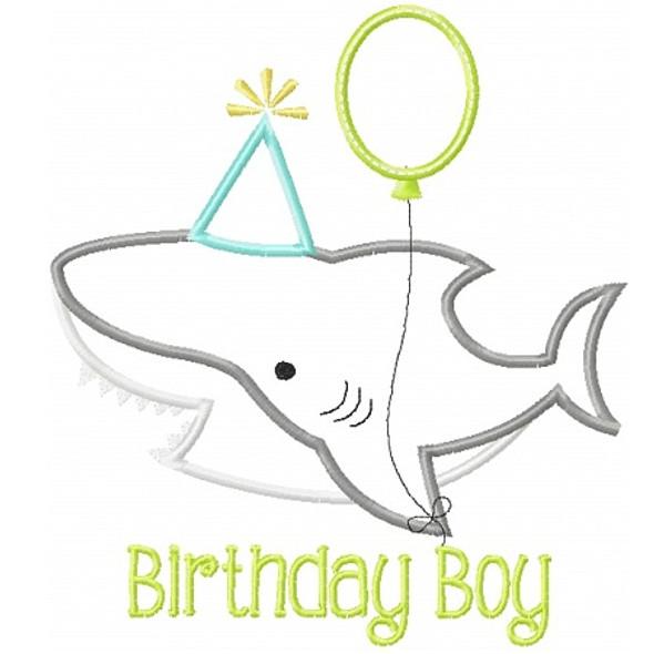 Birthday Shark Applique Machine Embroidery Design