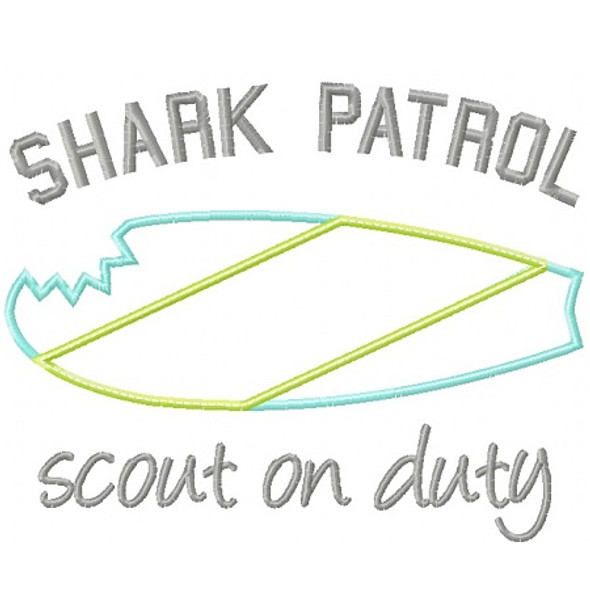 Shark Patrol Applique Machine Embroidery Design