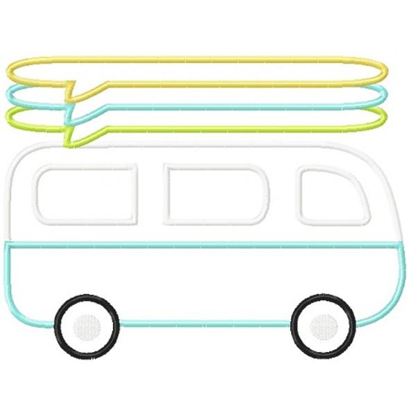 Surf Van Applique Machine Embroidery Design