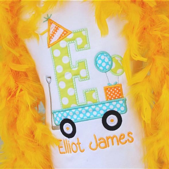 Birthday Wagon Alpha Machine Embroidery Design