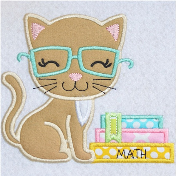Kitty and Books Applique Machine Embroidery Design