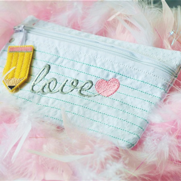 In the Hoop Paper Zipper Pouch Machine Embroidery Design