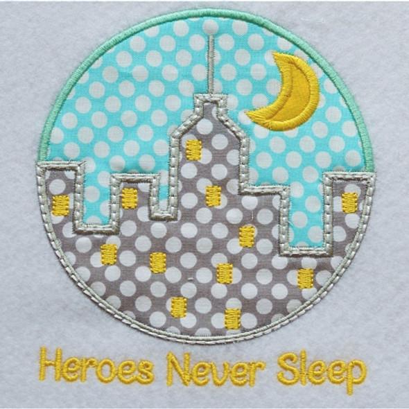 Heroes Never Sleep Applique Machine Embroidery Design