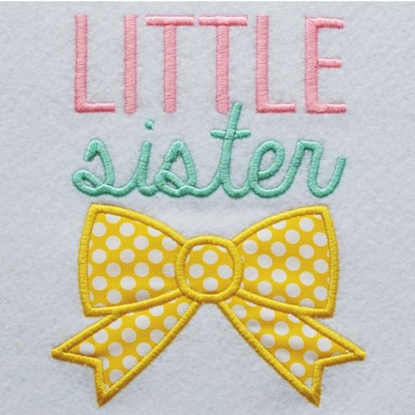 Little Sister Bow Applique Machine Embroidery Design
