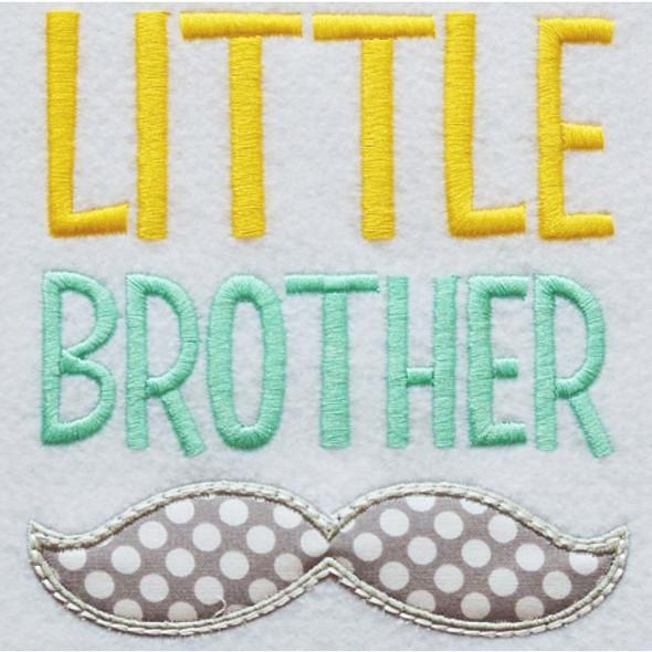 Little Brother Mustache Applique Machine Embroidery Design