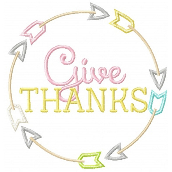 Give Thanks Arrows Machine Embroidery Design