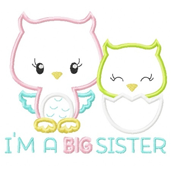Sibling Owls Applique Machine Embroidery Design