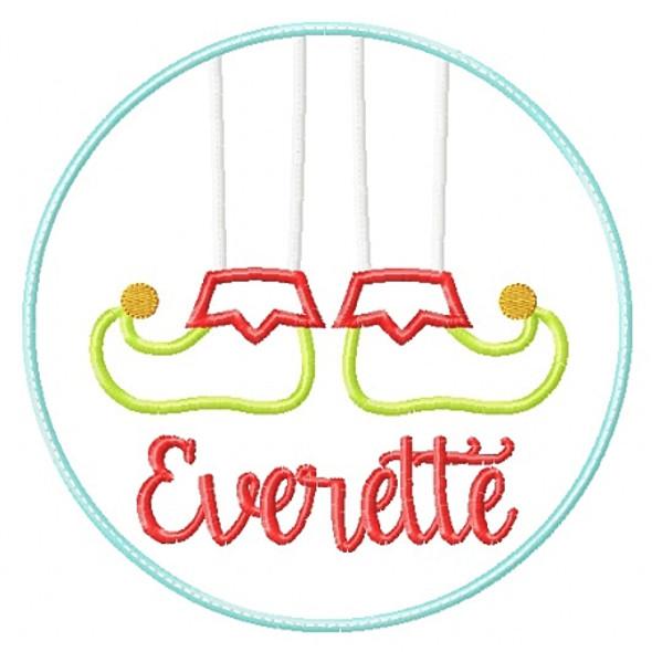 Elf Feet Patch Applique Machine Embroidery Design