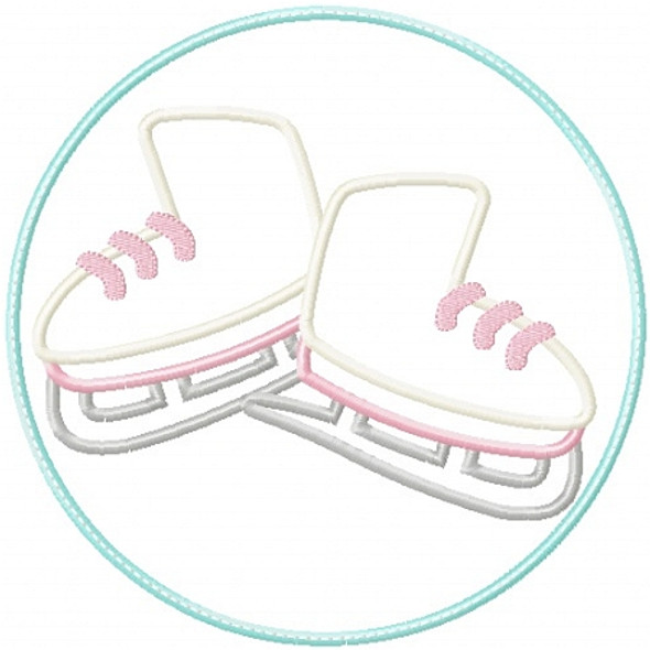 Ice Skate Patch Applique Machine Embroidery Design
