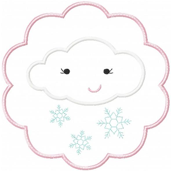 Snow Cloud Patch Applique Machine Embroidery Design