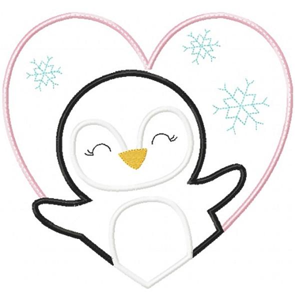 Valentine Penguin Patch Machine Embroidery Design