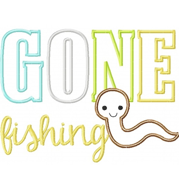 Gone Fishing Worm Machine Embroidery Design