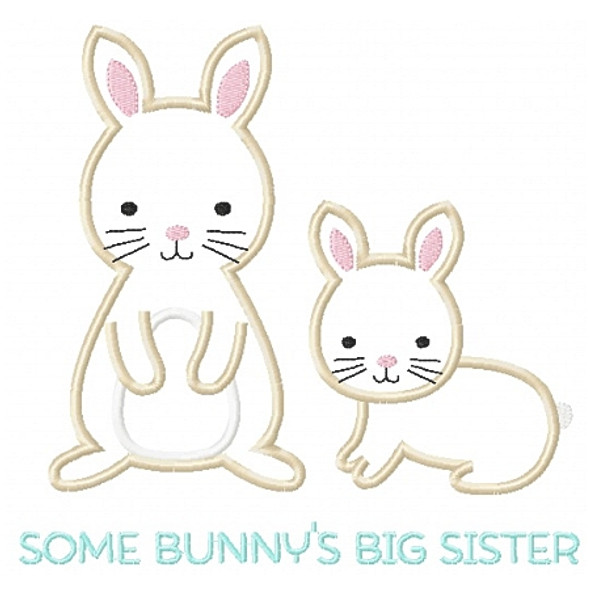 Sibling Bunnies Applique Machine Embroidery Design
