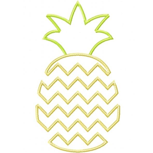 Chevron Pineapple Applique Machine Embroidery Design