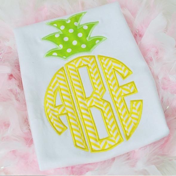 Pineapple Monogram Alpha Machine Embroidery Design