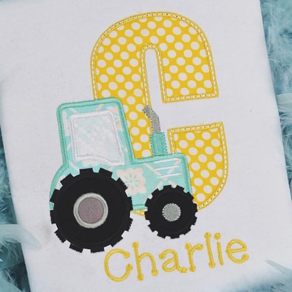 Tractor Alpha Machine Embroidery Design