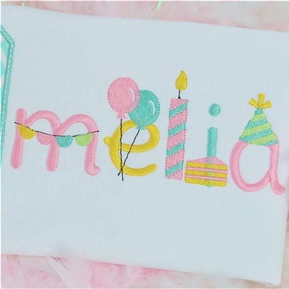 Birthday Font Machine Embroidery Design