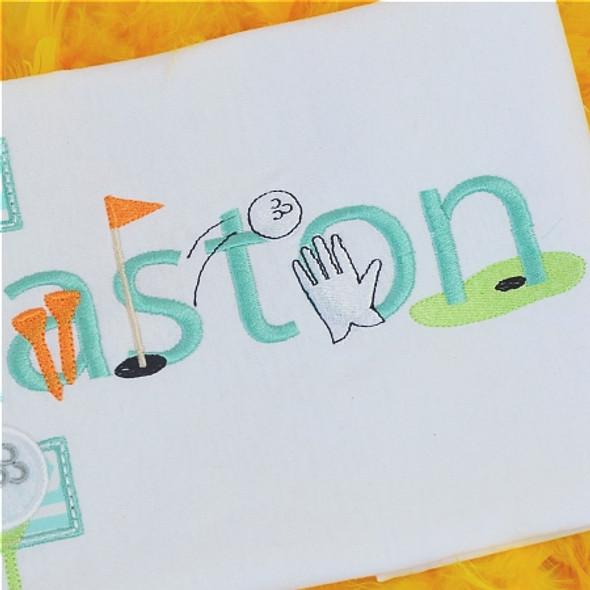 Golf Font Machine Embroidery Design