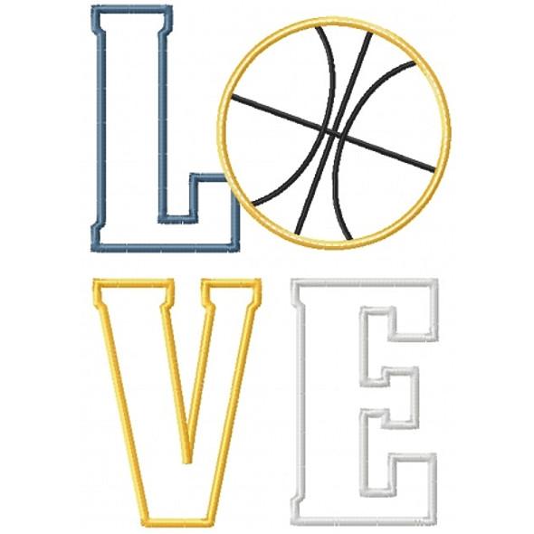 Basketball Love Applique Machine Embroidery Design