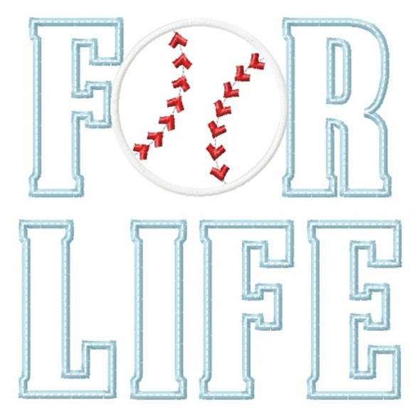 Baseball for Life Applique