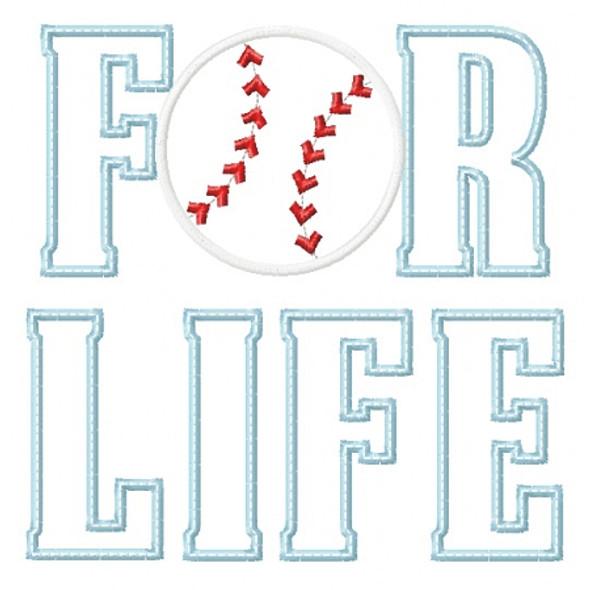 Baseball for Life Applique Machine Embroidery Design