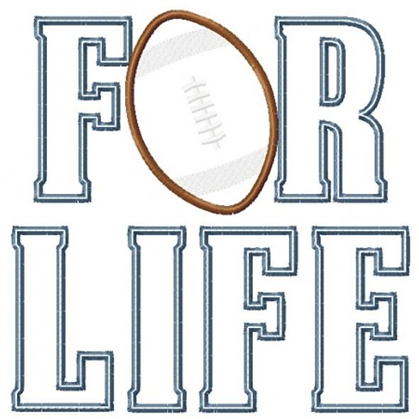 Football for Life Applique Machine Embroidery Design