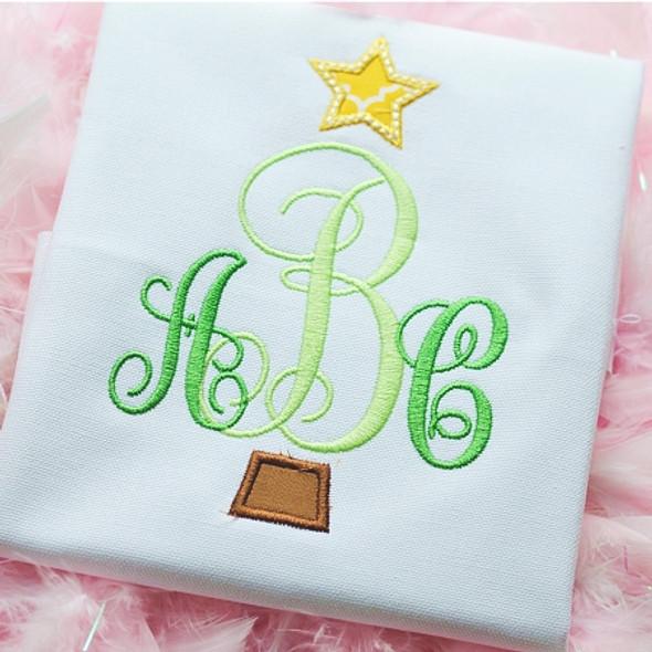 Christmas Tree Monogram Font Machine Embroidery Design