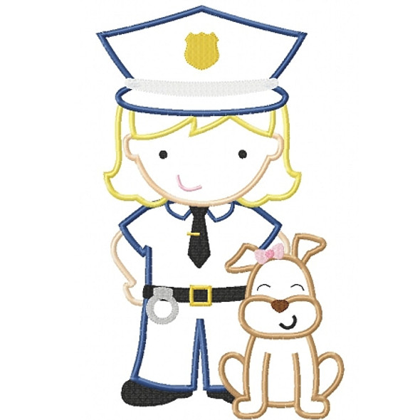 K9 Police Girl Machine Embroidery Design