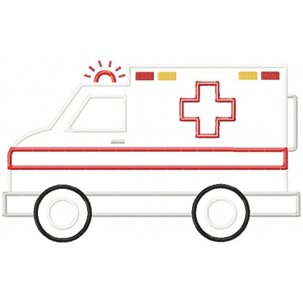 Ambulance Applique Machine Embroidery Design