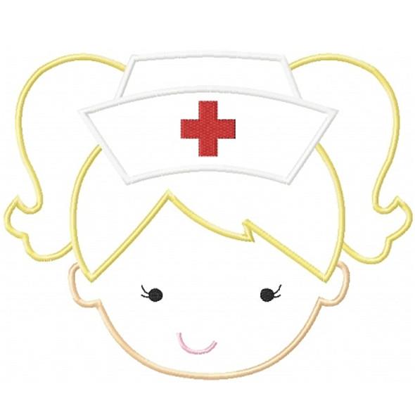 Nurse Girl Applique Machine Embroidery Design
