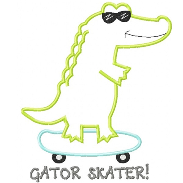 Skateboard Gator Applique Machine Embroidery Design