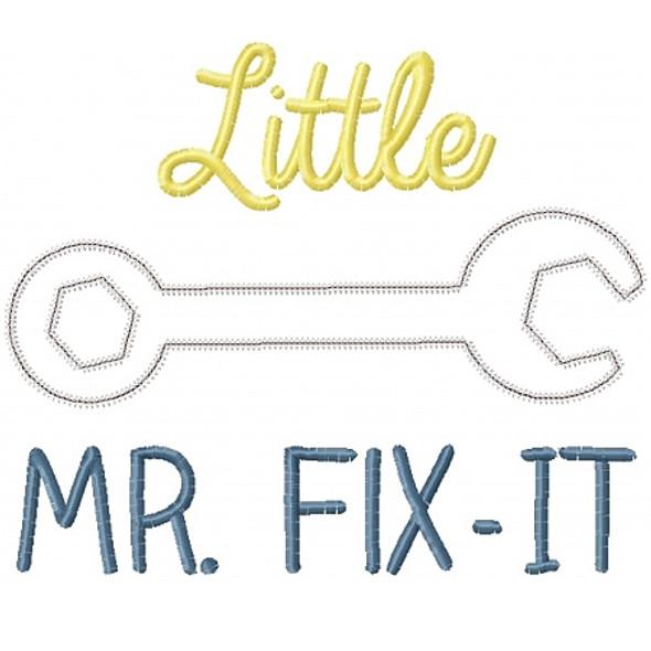 Little Mr Fix it Applique Machine Embroidery Design