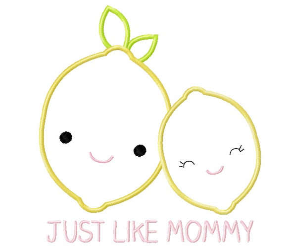 Like Mommy Lemons Satin and Zig Zag Applique Machine Embroidery Design